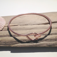 Hand Crafted Hammered Copper Clasp Bangle - UK Free Post