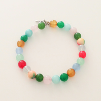 Multi Coloured Gemstone Bead Bracelet