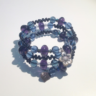 Purple, Blue and Black Memory Wire Bracelet - UK Free Post