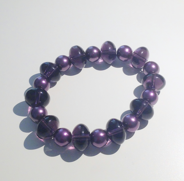 Purple Pearl and Glass Bead Elasticated Bracelet - UK Free Post
