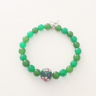 Green Gemstone and Cloisonne Bead Bracelet - UK Free Post