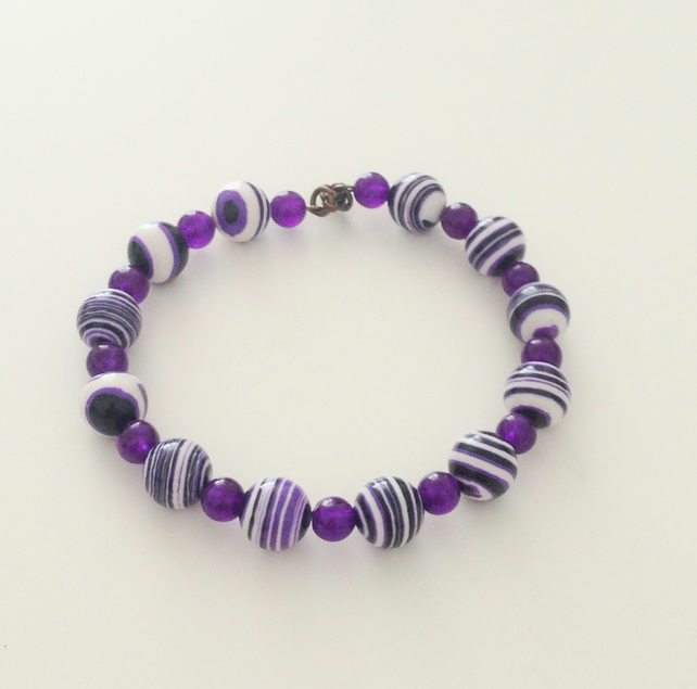 Purple Gemstone Bead Bracelet