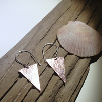 Copper Triangular Drop Earrings - UK Free Post
