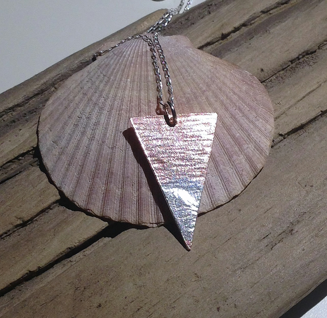 Copper Triangular Pendant Necklace with Sterling Silver - UK Free Post