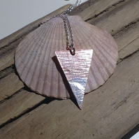 Copper Triangular Pendant Necklace with Sterling Silver
