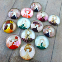 pack of 10 - Glass Round 20mm Cabochons with Dolls