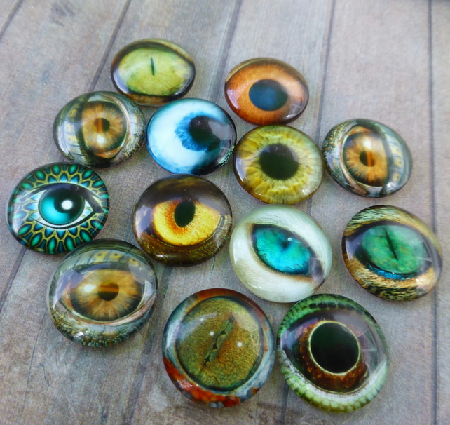 pack of 10 - Glass Round 18 mm Animal Eyes Mix Cabochons