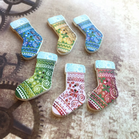 Pack of 10 - Wooden Buttons Christmas Stocking Mix 1 for Sewing or Scrapbooking