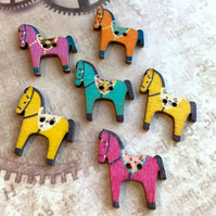 Pack of 10 - Wooden Buttons Horse for Sewing or Scrapbooking