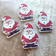 Pack of 10 - Wooden Buttons Santa Claus Christmas Embellishment