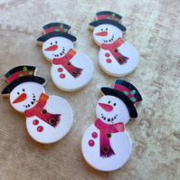 Pack of 10 - Wooden Buttons Snowman Embellishment