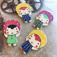Pack of 10 - Wooden Buttons Girl Embellishment Scrapbooking