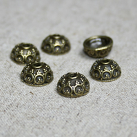 Pack of 20 - Antique bronze patterned bead caps