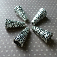 Pack of 14 - Antique Silver Cone Bead Caps Swirls
