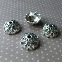 Pack of 10 - 3 Petal Bead Caps Silver Tone