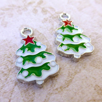 Pack of 5 - Enamelled Christmas Tree Charms
