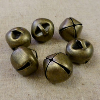 Pack of 10 - Big 20 mm Bronze Jingle Bells with Loop