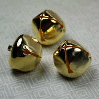 Pack of 10 - Big 20 mm Gold Jingle Bells with Loop