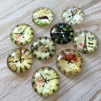 pack of 10 - 20mm Glass Cabochon Mix Watch Pattern