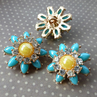 pack of 2 - Gold and Blue Shank Button Flower with Rhinestones