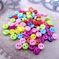 Pack of 100 - Resin 6mm Buttons 2-hole Mix Colours