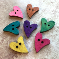 Pack of 20 - 2-hole Wooden Buttons Heart Mix