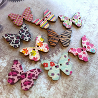 Pack of 10 - Wooden Buttons Butterfly Mix 002 for Sewing or Scrapbooking