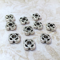Pack of 20 - Floral Spacer Beads Antique Silver Carved Metal alloy