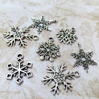 Pack of 15 - Snowflake Charms Antiqued Silver Mixed Lot