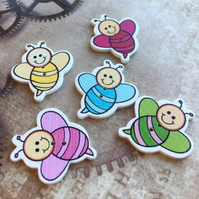 Pack of 10 - Wooden Buttons Bees for Sewing or Scrapbooking