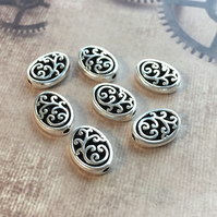 Pack of 30 - Oval Spacer Beads Antique Silver Carved