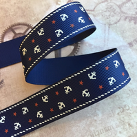 3 meters Blue Nautical 25mm Grosgrain Ribbon with Anchor
