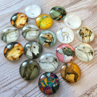 pack of 10 - 20mm Glass Cabochon Mix Dog Pattern