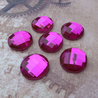 pack of 6 - Pink Glass Faceted Round Cabochon