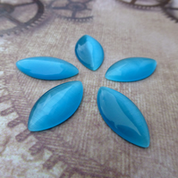 Pack of 10 - Cats Eye Glass Cabochon Navette Blue