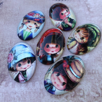 pack of 10 - 20 x 30 mm Glass Oval Cabochons with Girls Mix