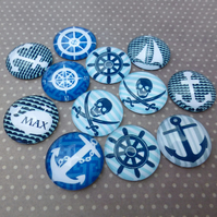 pack of 10 - 20mm Nautical Cabochon Mix