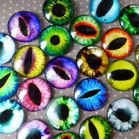 pack of 20 - 15 mm Glass Eye Cabochon Mix