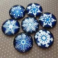 pack of 10 - 25 mm Blue Glass Cabochons with Snowflakes