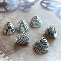 Pack of 10 - Spiral Cone Bead Caps in Antique Silver