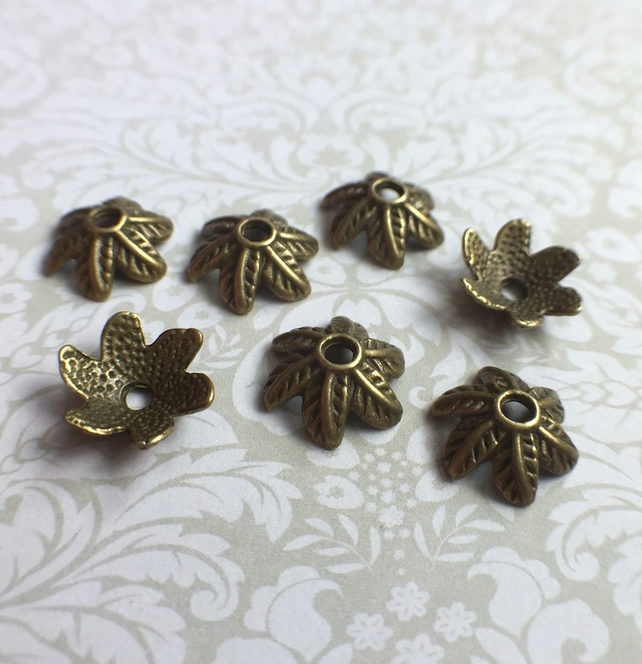 Pack of 50 Floral Petal Bead Caps in Bronze Colour