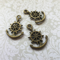 Pack of 10 - Antique Bronze Colour Nautical Charm Anchor
