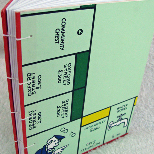 Hand-sewn Notebook from London Monopoly boardgame - large size