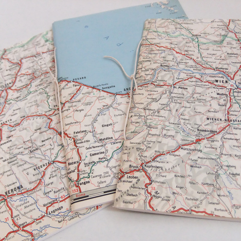 Set of 3 hand-sewn notebooks / journals made from 1970s Map of Central Europe