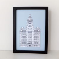 Liver Building  Print - Liverpool illustration in Vintage Blue