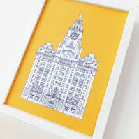 Liver Building  Print - Liverpool illustration in sunshine yellow