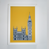 Big Ben Print in sunshine yellow, London Picture, British Art