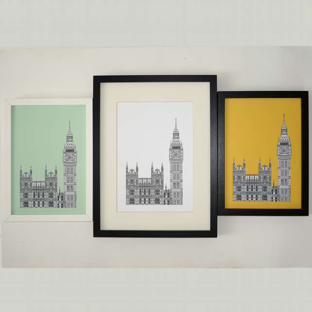 Big Ben London Print Architectural Drawing Folksy