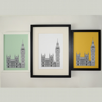 Big Ben, London Print, Architectural Drawing