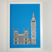 London Print in Royal Blue, Big Ben, Architecture Print